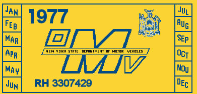 1977 New York Registration Sticker
