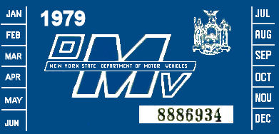 1979 New York REGISTRATION Sticker