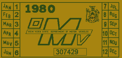 1980 New York REGISTRATION Sticker