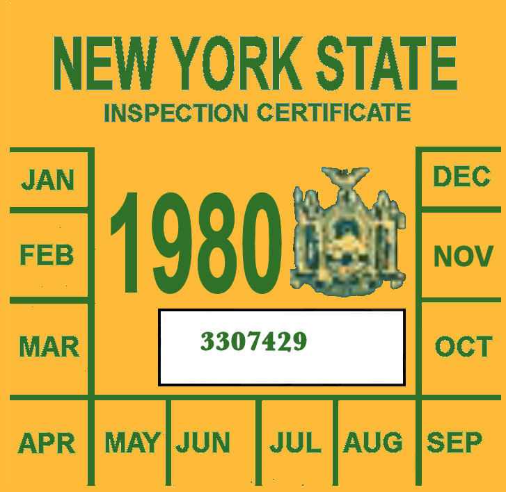 1980 New York INSPECTION Sticker
