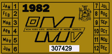1982 New York REGISTRATION sticker