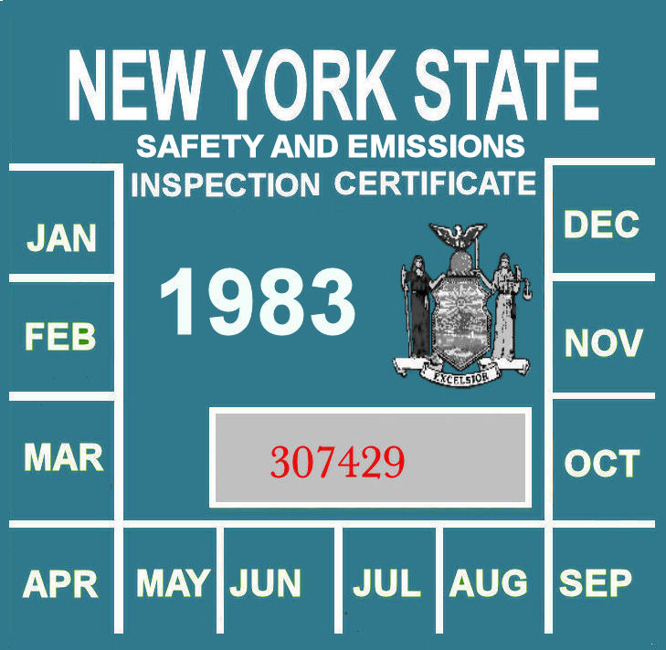 1983 New York Safety and Emissions inspection sticker