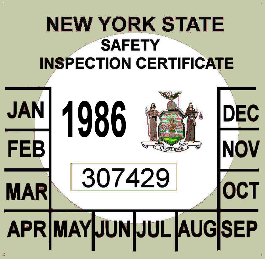 1986 New York Inspection sticker