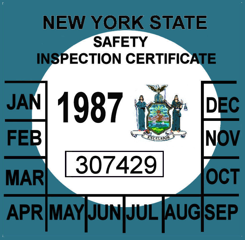 1987 New York Inspection sticker