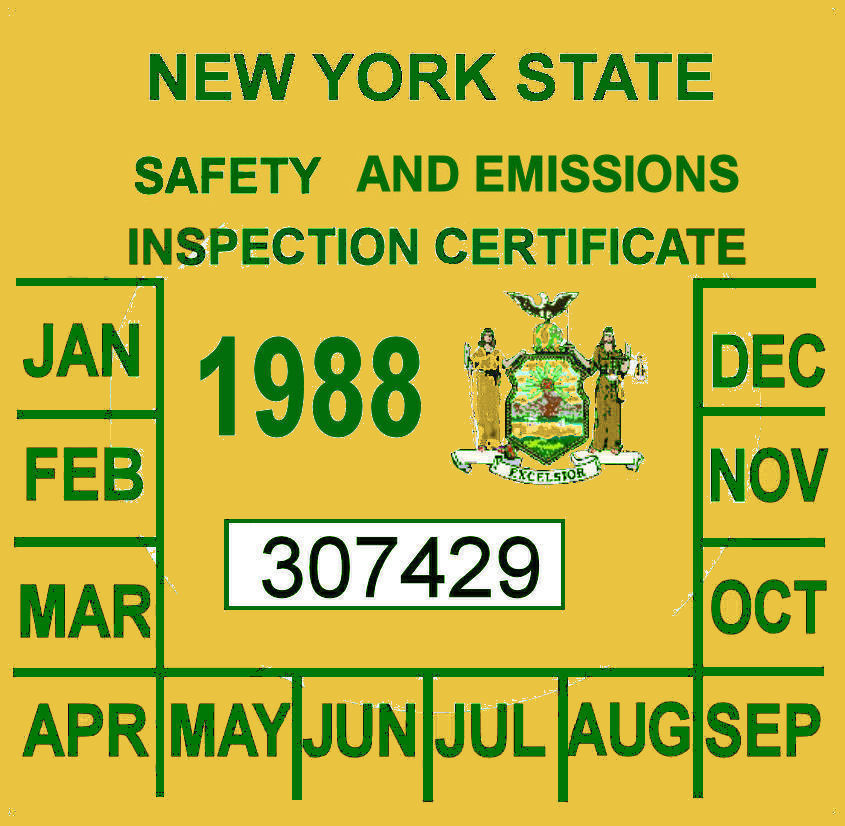 1988 New York emissions inspection sticker