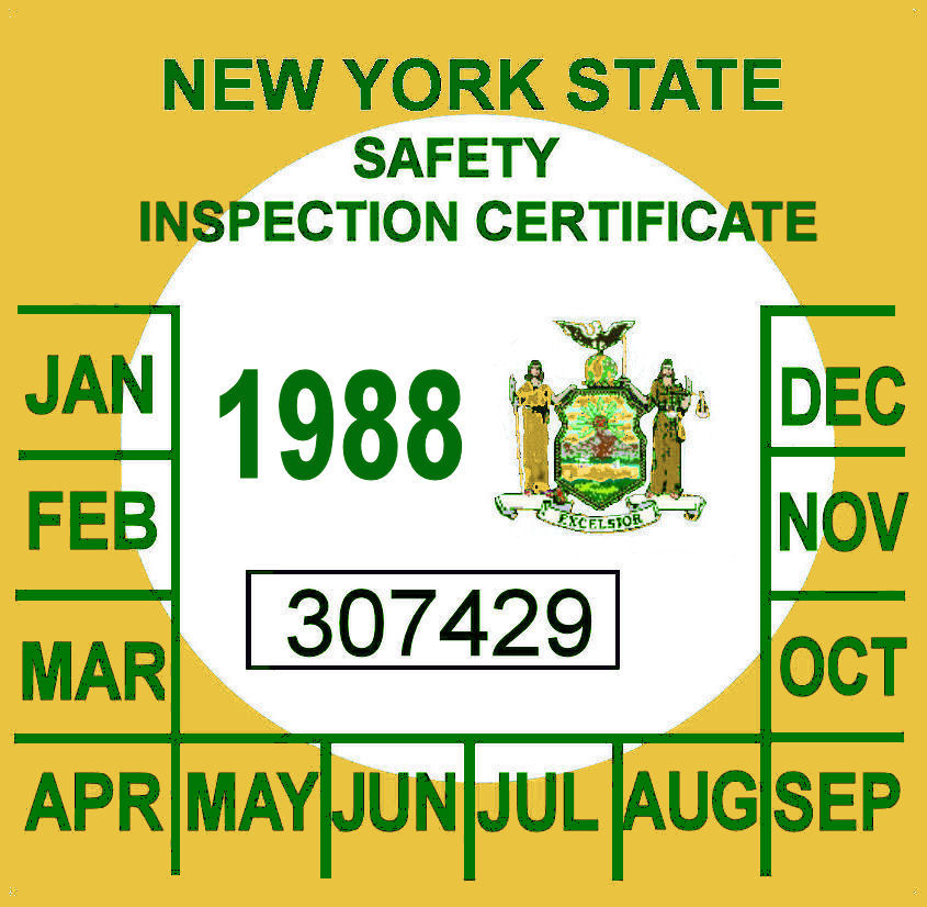 1988 New York Inspection sticker
