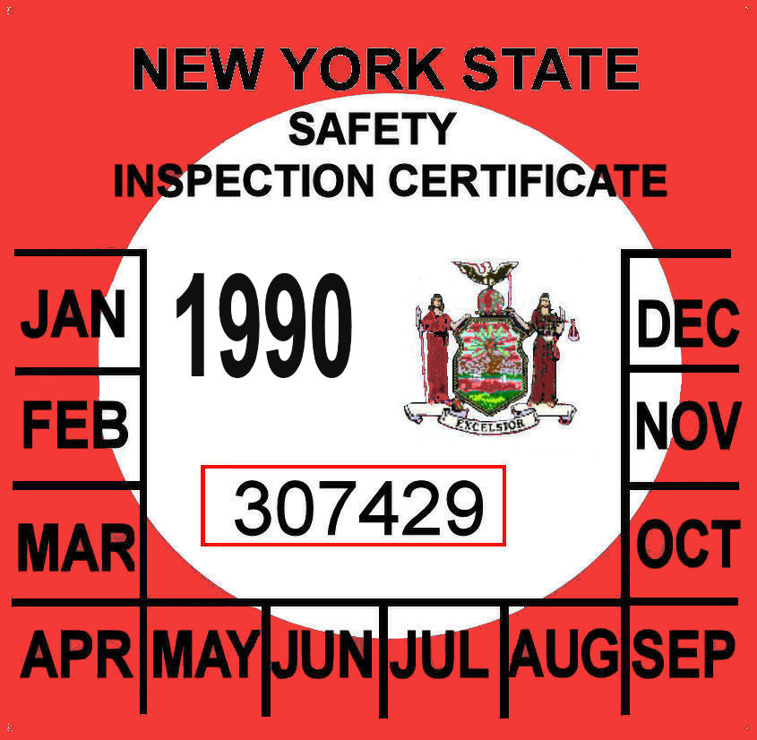 1990 New York inspection sticker