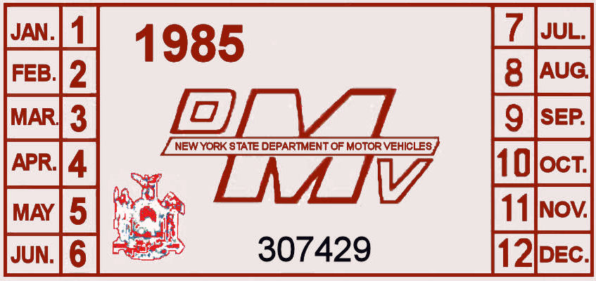1985 New York REGISTRATION sticker