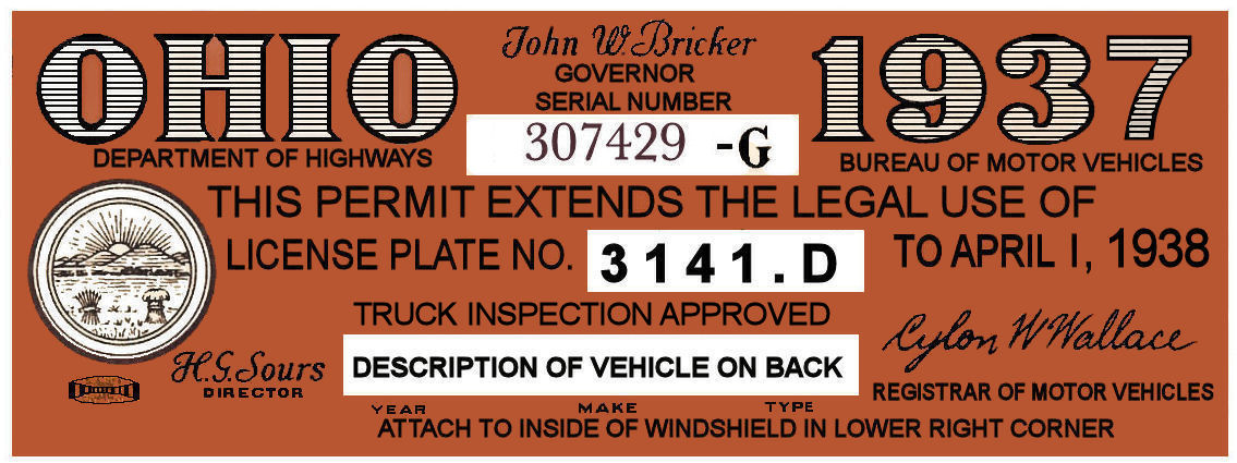 1937 Ohio Auto registration/Inspection sticker