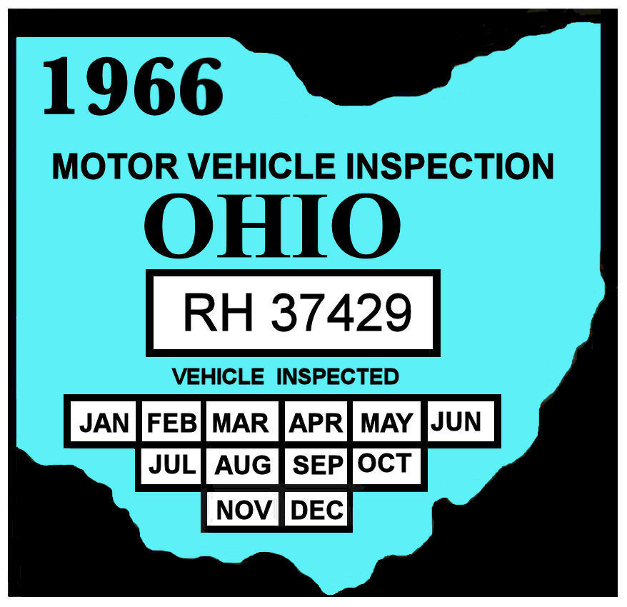 1966 Ohio state inspection sticker