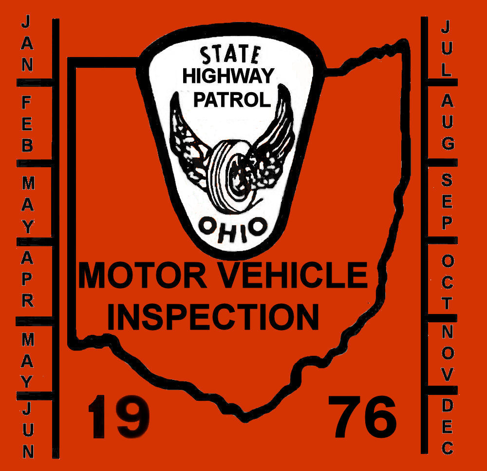 1976 Ohio ONSPECTION Sticker