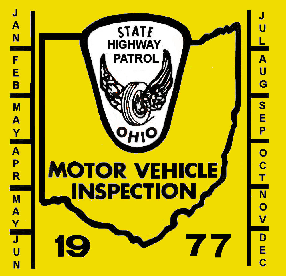 1977 Ohio INSPECTION Sticker