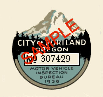1936 Oregon INSPECTION Sticker Portland