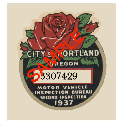 1937 Oregon INSPECTION Sticker Portland