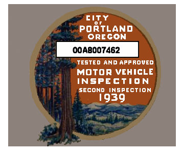 1939 Oregon INSPECTION Sticker, Portland 1st