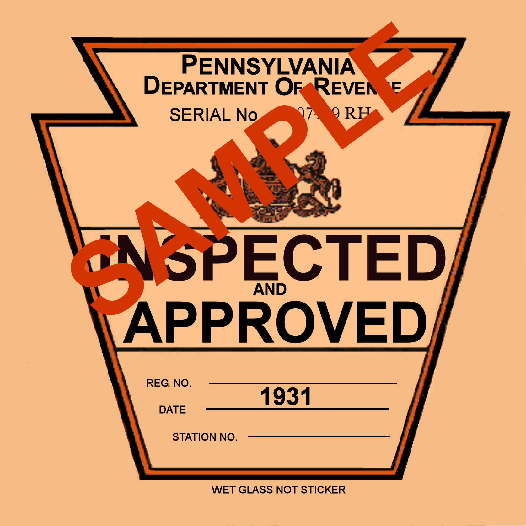 1931 Pennsylvania INSPECTION Sticker