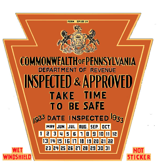 Pennsylvania : Bob Hoyts Classic Inspection Stickers, Add a Final ...