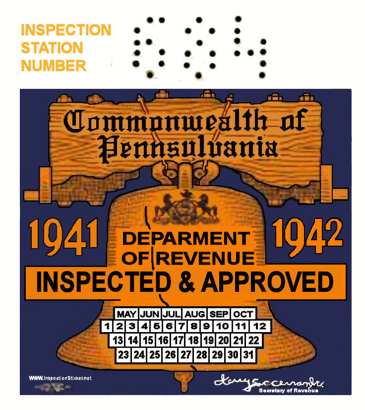 Maryland inspection sticker kamos sticker for Pa motor vehicle inspection
