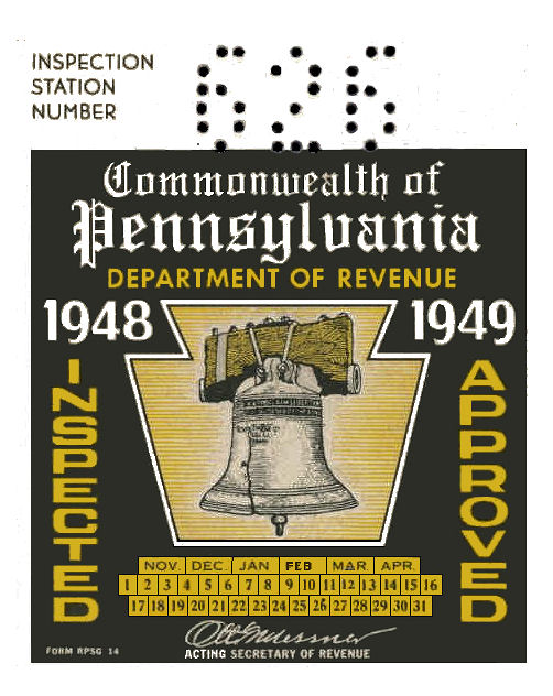 1948-49 Pennsylvania INSPECTION Sticker