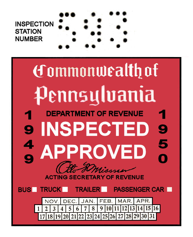 1949-50 Pennsylvania INSPECTION Sticker