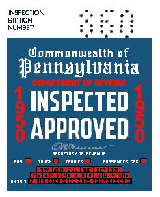 1950 Pennsylvania INSPECTION Sticker