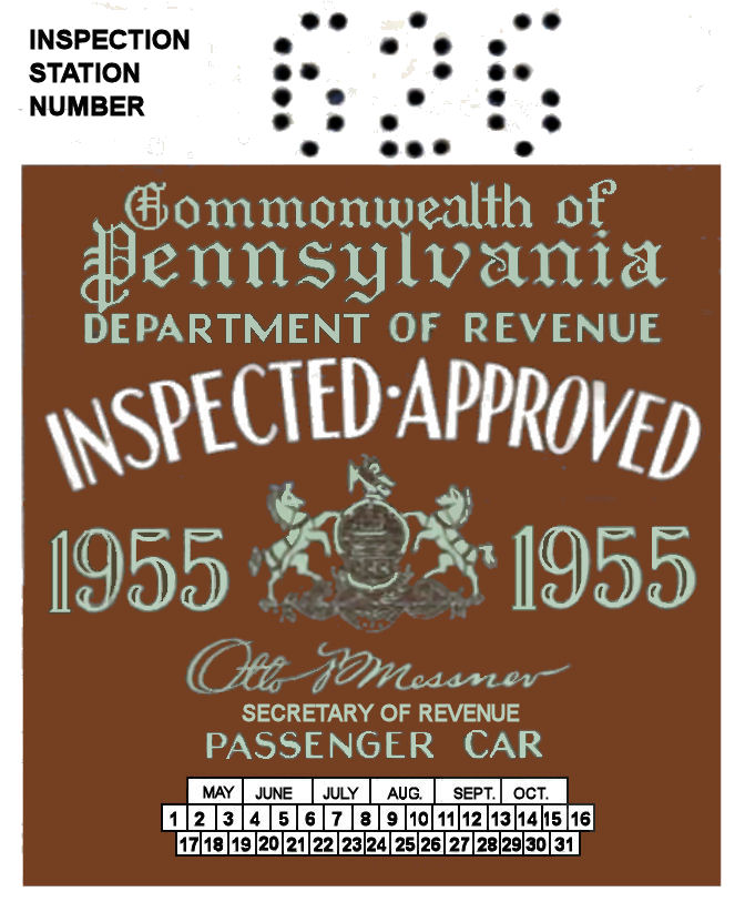 1955 Pennsylvania INSPECTION Sticker