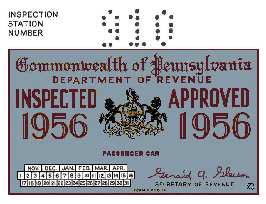 1956 Pennsylvania INSPECTION Sticker