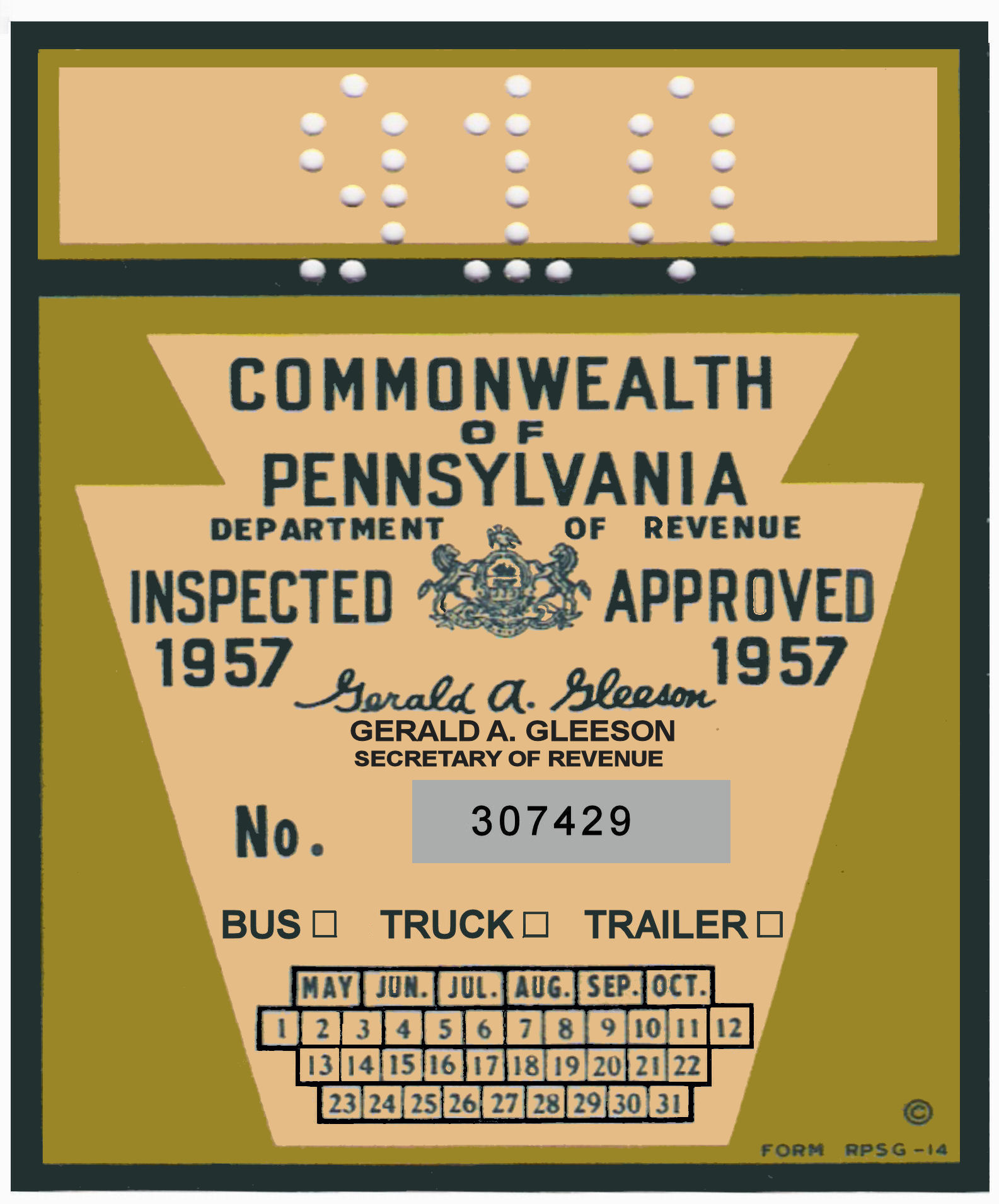 1957 Pennsylvania TRUCK sticker