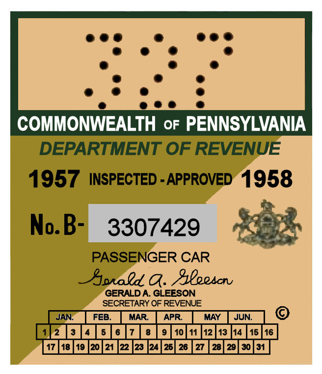 1957-58 -1 Pennsylvania Inspection Sticker LARGE