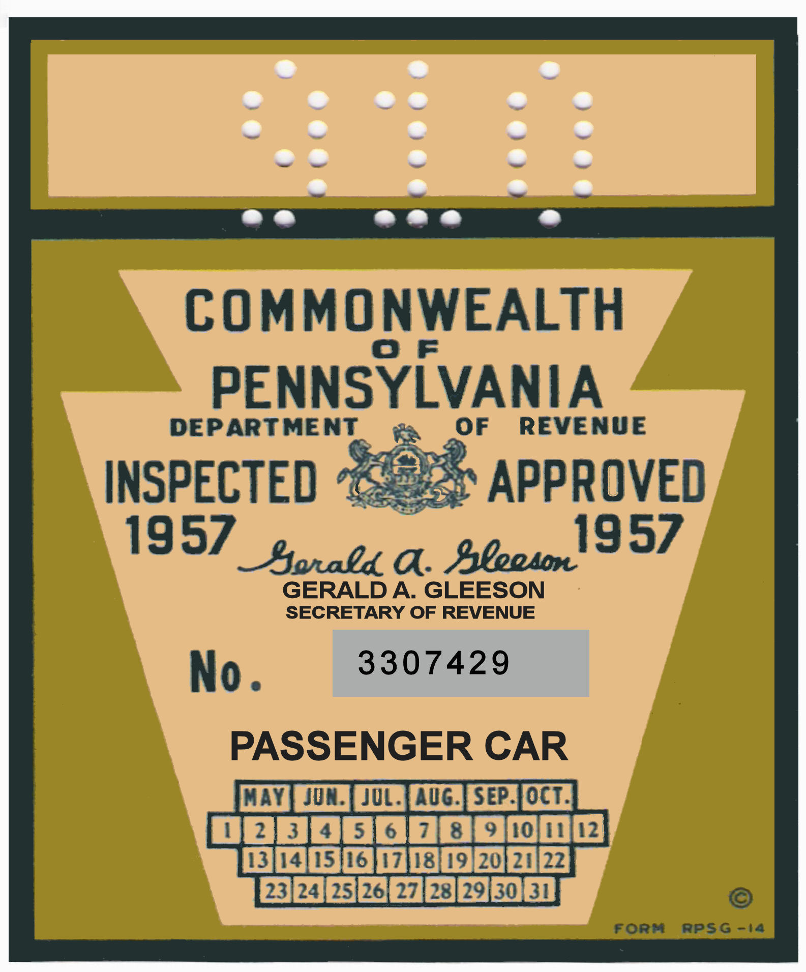 1957 Pennsylvania INSPECTION Sticker EARLY LARGE