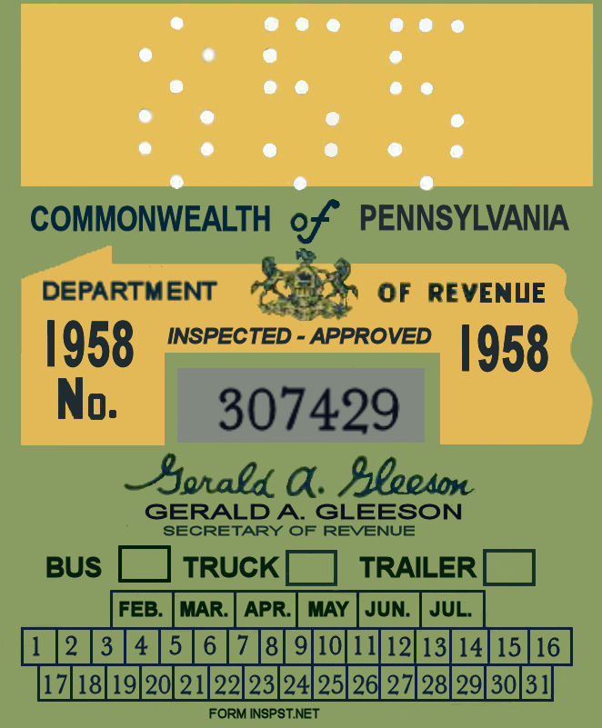 1958 Pennsylvania TRUCK Inspection Sticker