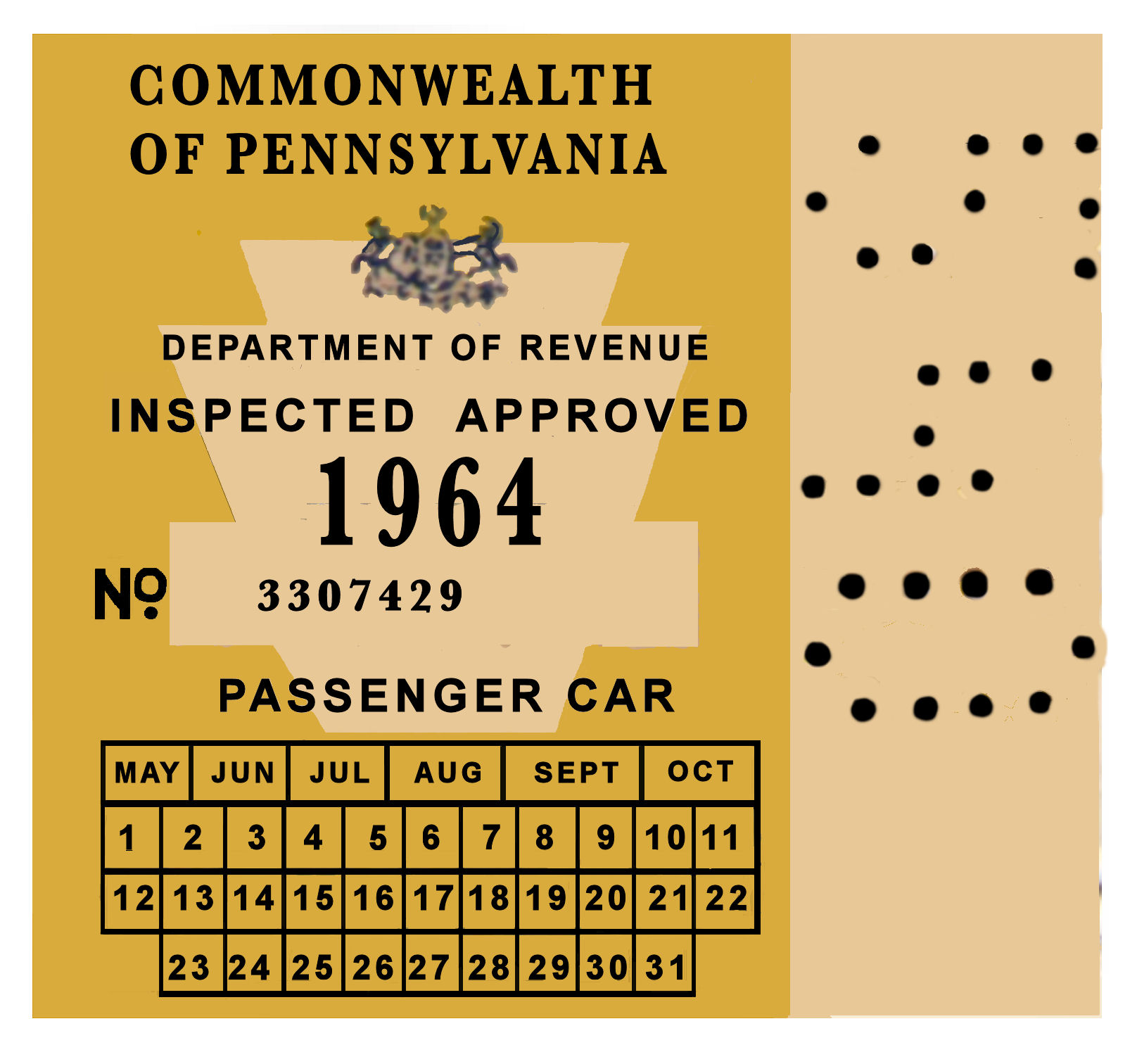 1964 Pennsylvania INSPECTION Sticker