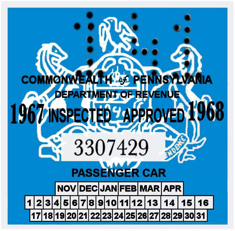 1967-68 Pennsylvania Inspection Sticker