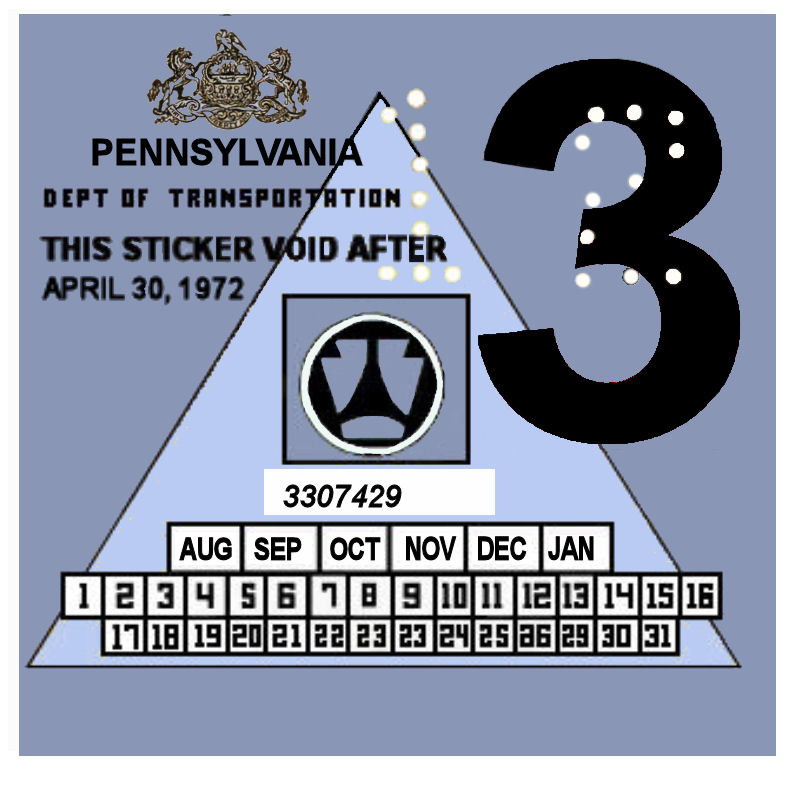 1972-3 Pennsylvania Inspection Sticker