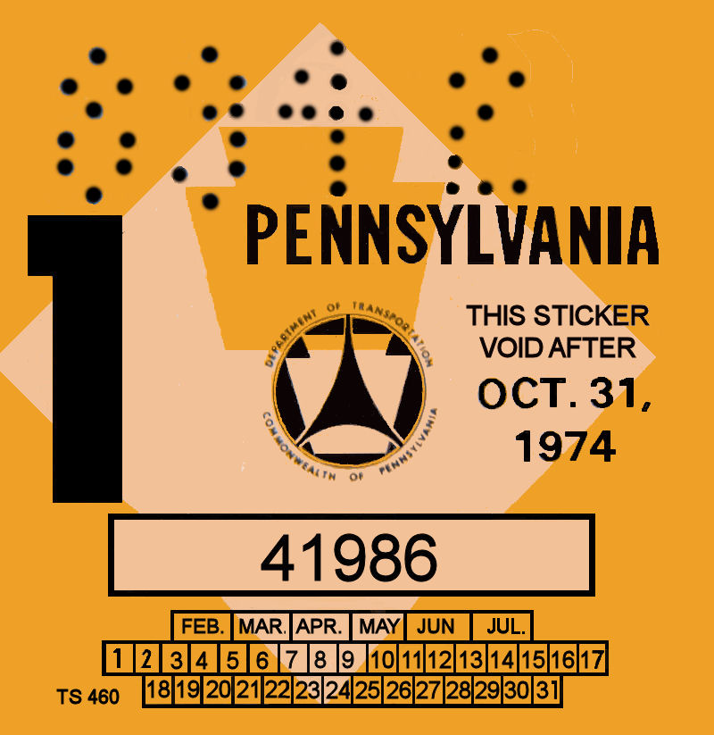 1974-1 Pennsylvania Inspection Sticker