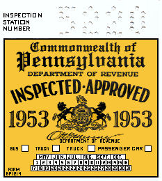 1953 Pennsylvania INSPECTION Sticker