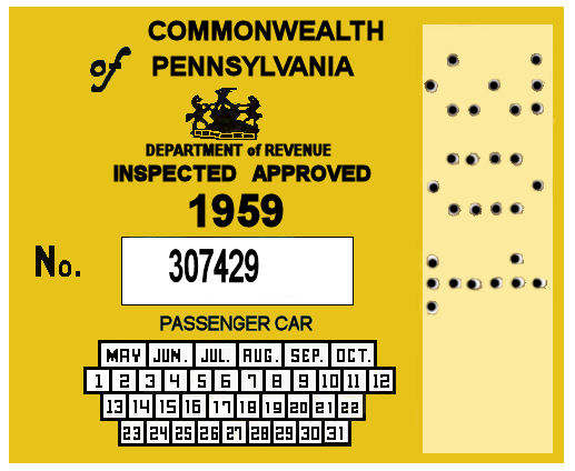 1959 Pennsylvania INSPECTION Sticker