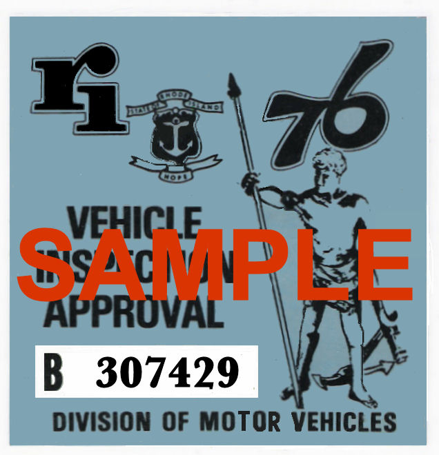 1976 Rhode Island Inspection Sticker