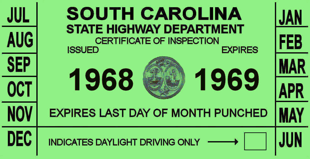 1968-69 NC inspection sticker