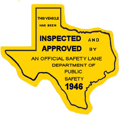 1946 Texas Safety Lane Inspection Sticker