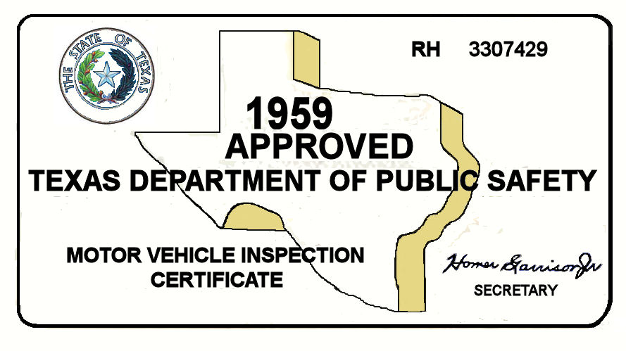 1959 Texas Inspection Sticker