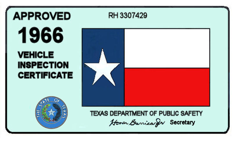 1966 Texas Inspection Sticker