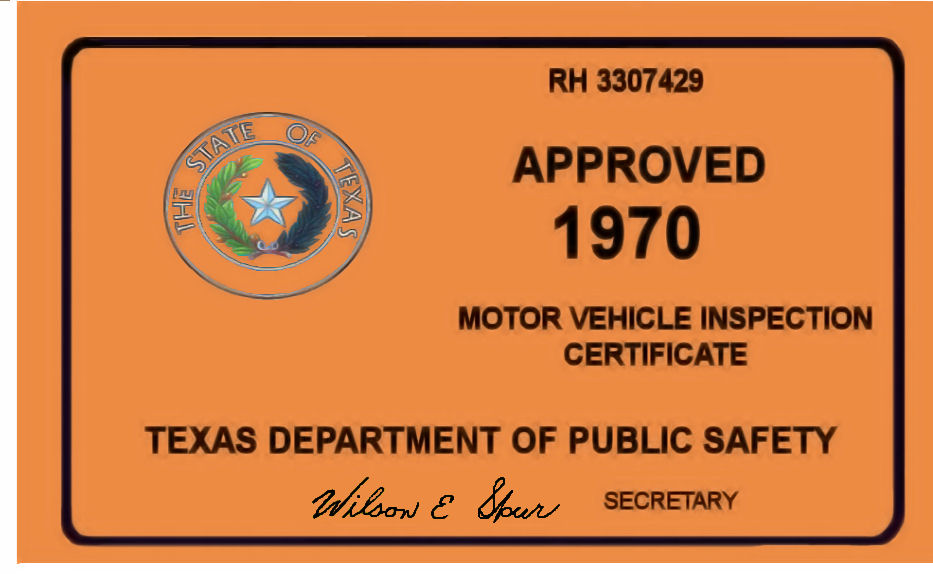 1970 Texas Inspection Sticker