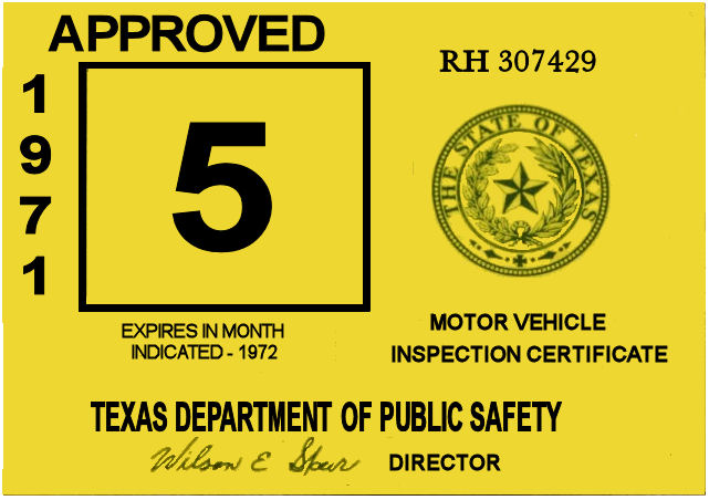 1971 Texas Inspection Sticker