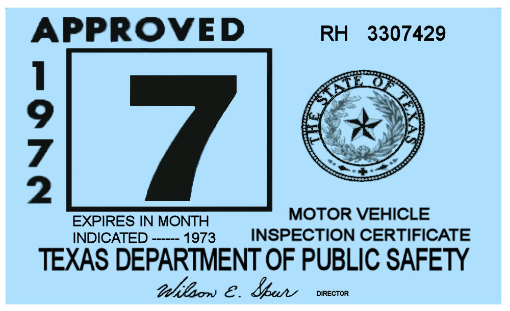 1972 Texas Inspection Sticker