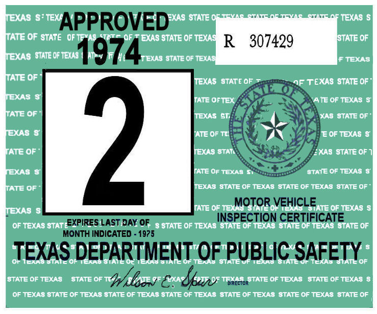 1974 Texas Inspection Sticker