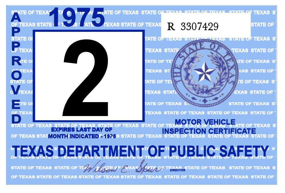 1975 Texas Inspection Sticker