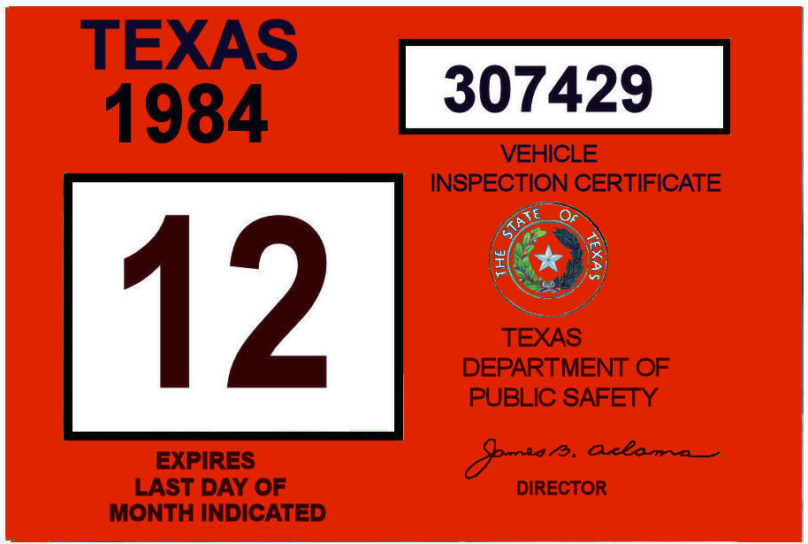 Texas inspection sticker price kamos sticker for Texas department of motor vehicles el paso tx