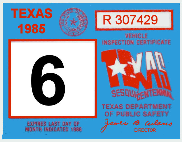 1985 Texas Inspection Sticker