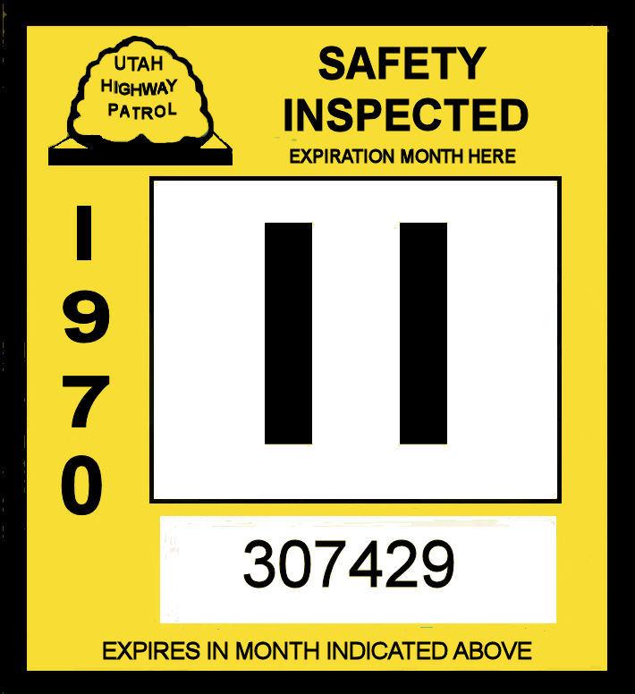 1957 Utah Inspection sticker - $20.00 : Bob Hoyts Classic ...